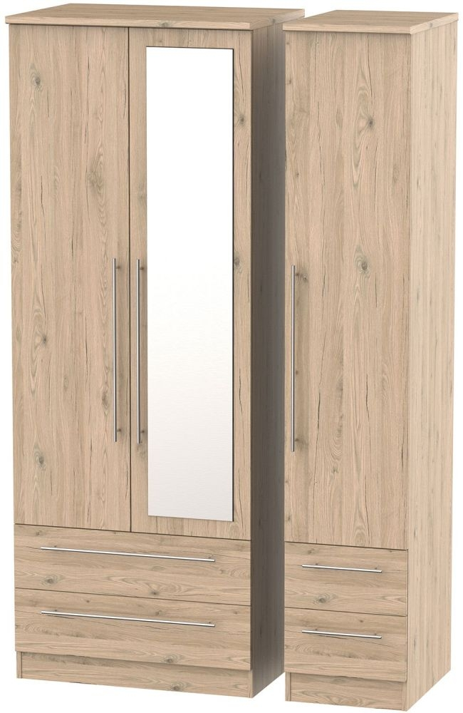Sherwood Bordeaux Oak 3 Door 4 Drawer Tall Combi Wardrobe