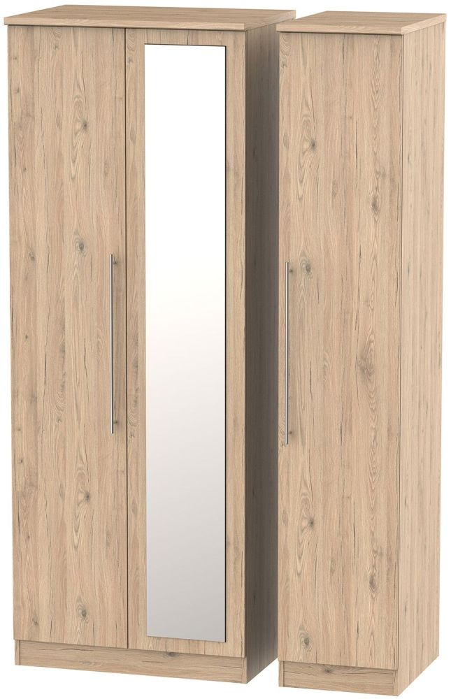 Sherwood Bordeaux Oak 3 Door Tall Mirror Triple Wardrobe