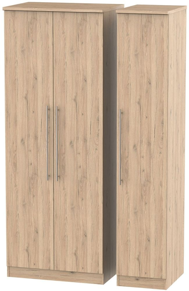 Sherwood Bordeaux Oak 3 Door Tall Wardrobe