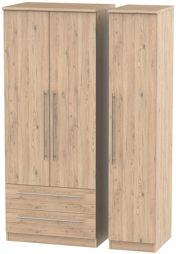 Sherwood Bordeaux Oak 3 Door 2 Drawer Triple Wardrobe
