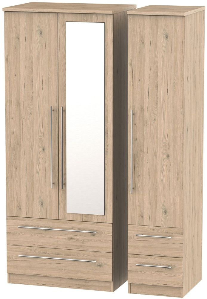 Sherwood Bordeaux Oak Triple Wardrobe with Mirror and Drawer