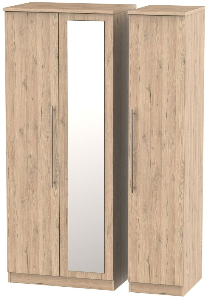 Sherwood Bordeaux Oak 3 Door Mirror Wardrobe