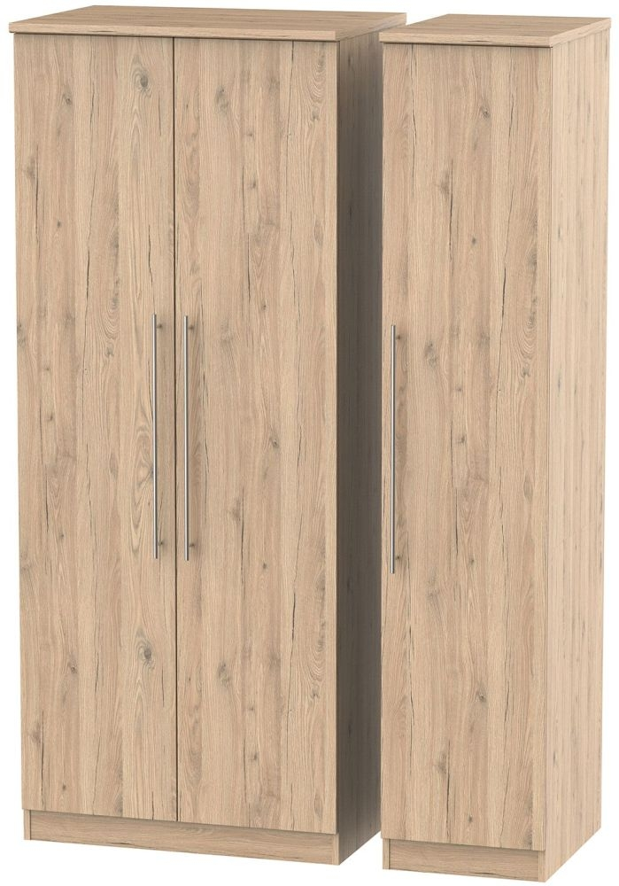 Sherwood Bordeaux Oak Triple Wardrobe with Plain