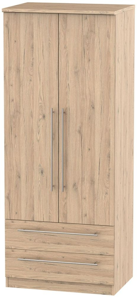 Sherwood Bordeaux Oak Wardrobe - 2ft 6in with 2 Drawer