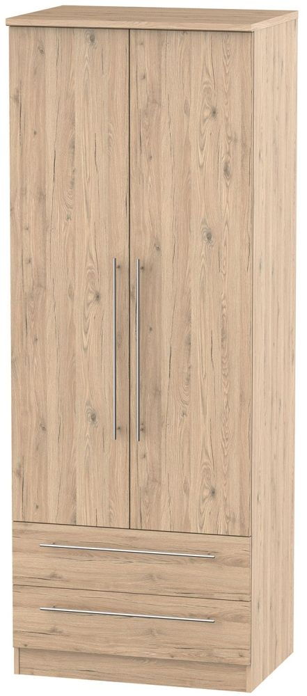 Sherwood Bordeaux Oak Wardrobe - Tall 2ft 6in with 2 Drawer