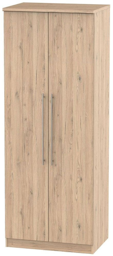 Sherwood Bordeaux Oak 2 Door Tall Double Hanging Wardrobe