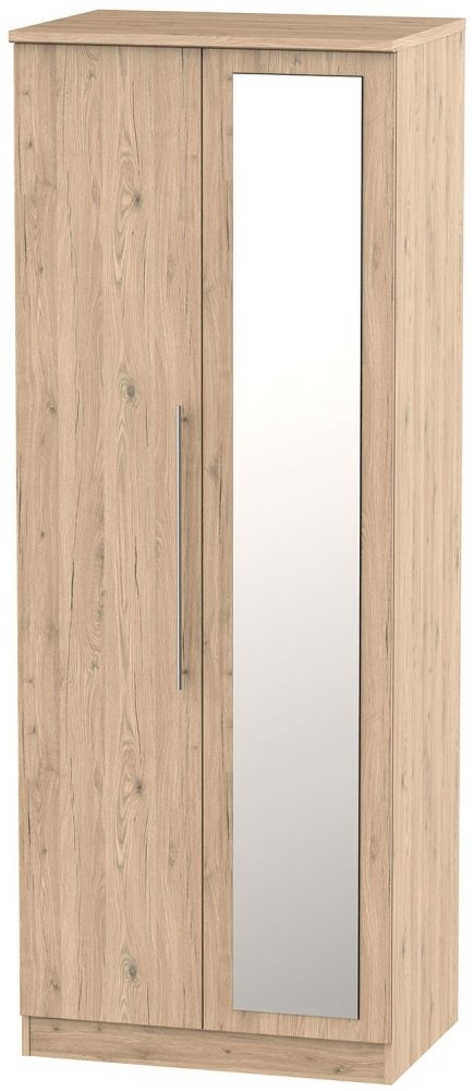 Sherwood Bordeaux Oak 2 Door Tall Mirror Double Wardrobe