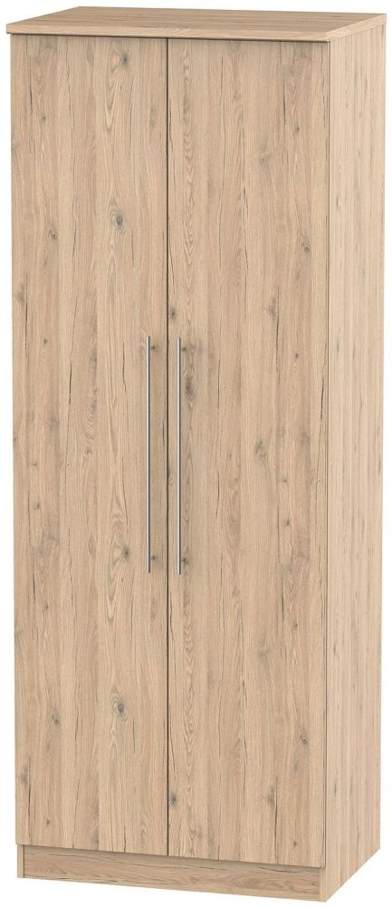 Sherwood Bordeaux Oak 2 Door Tall Plain Double Wardrobe