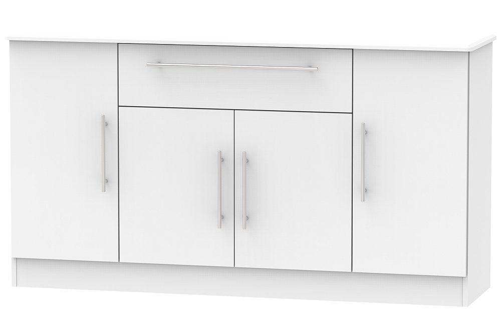 Sherwood Grey Matt 4 Door 1 Drawer Wide Sideboard