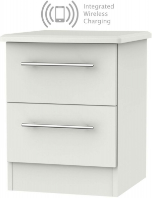 Sherwood Grey Matt 2 Drawer Bedside Cabinet with Integrated Wireless Charging
