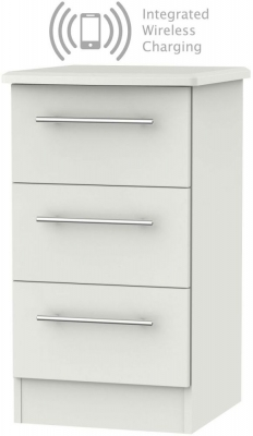 Sherwood Grey Matt 3 Drawer Bedside Cabinet with Integrated Wireless Charging