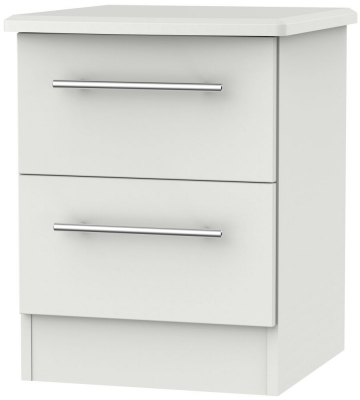 Sherwood Grey Matt 2 Drawer Bedside Cabinet