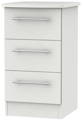 Sherwood Grey Matt 3 Drawer Bedside Cabinet