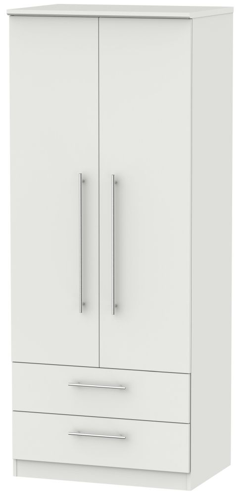 Sherwood Grey Matt 2 Door 2 Drawer Wardrobe