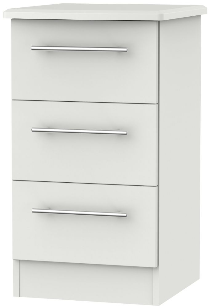 Sherwood Grey Matt 3 Drawer Locker Bedside Cabinet