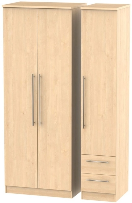 Sherwood Maple Triple Wardrobe - Tall Plain with 2 Drawer