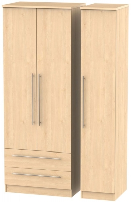 Sherwood Maple Triple Wardrobe - Tall with 2 Drawer