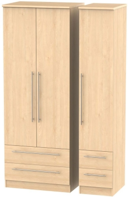 Sherwood Maple Triple Wardrobe - Tall with Drawer