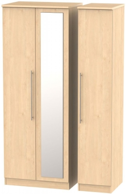 Sherwood Maple Triple Wardrobe - Tall with Mirror