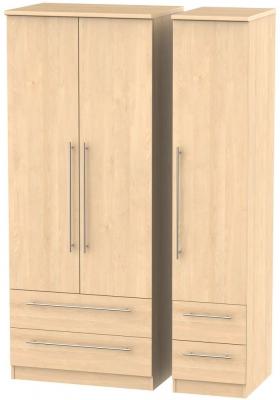 Sherwood Maple Triple Wardrobe with Drawer