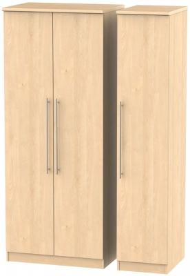 Sherwood Maple Triple Wardrobe with Plain