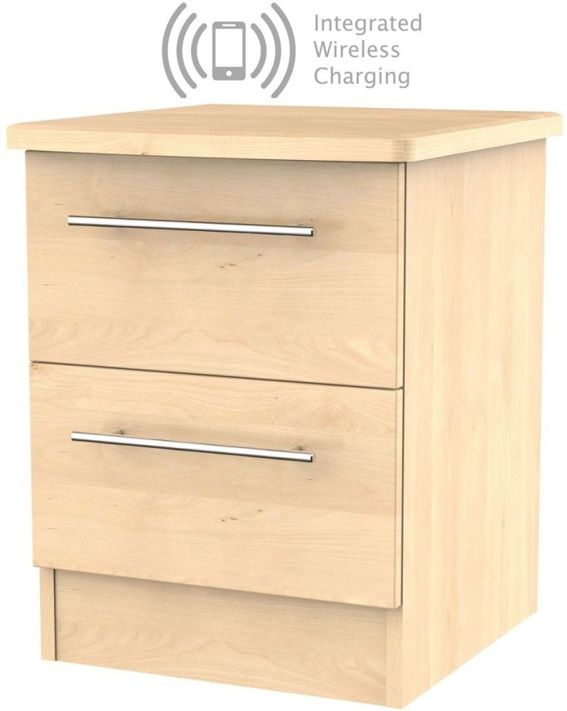 Sherwood Maple 2 Drawer Bedside Cabinet with Integrated Wireless Charging