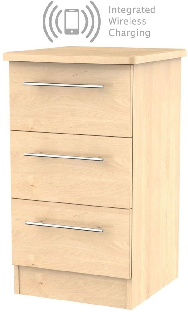 Sherwood Maple 3 Drawer Bedside Cabinet with Integrated Wireless Charging