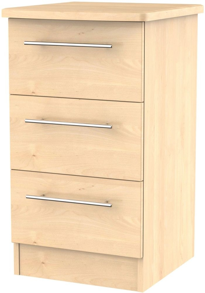 Sherwood Maple Bedside Cabinet - 3 Drawer Locker