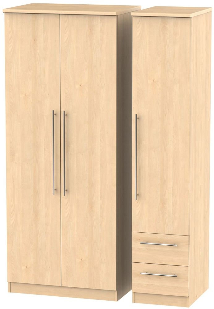 Sherwood Maple Triple Wardrobe - Plain with 2 Drawer
