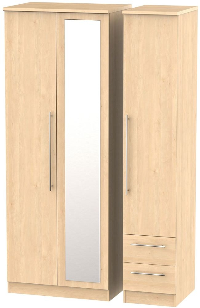 Sherwood Maple Triple Wardrobe - Tall 2 Drawer and Mirror