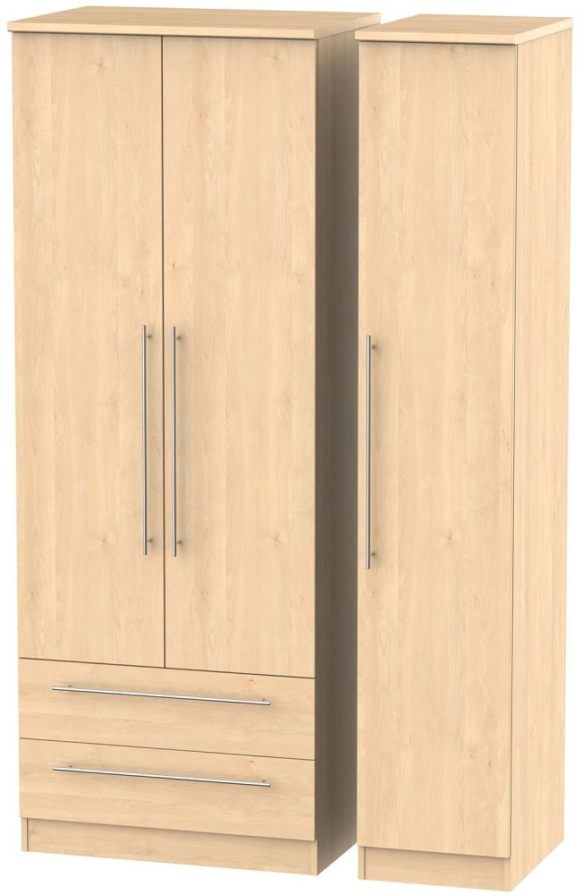 Sherwood Maple 3 Door 2 Drawer Tall Triple Wardrobe