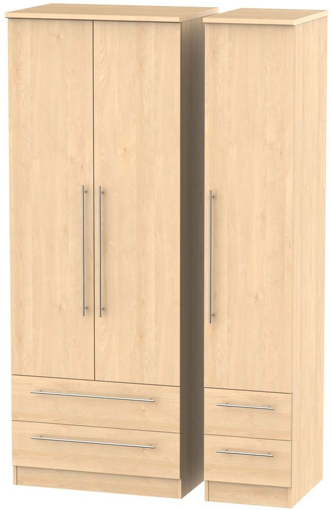 Sherwood Maple Triple Wardrobe - Tall with Drawer
