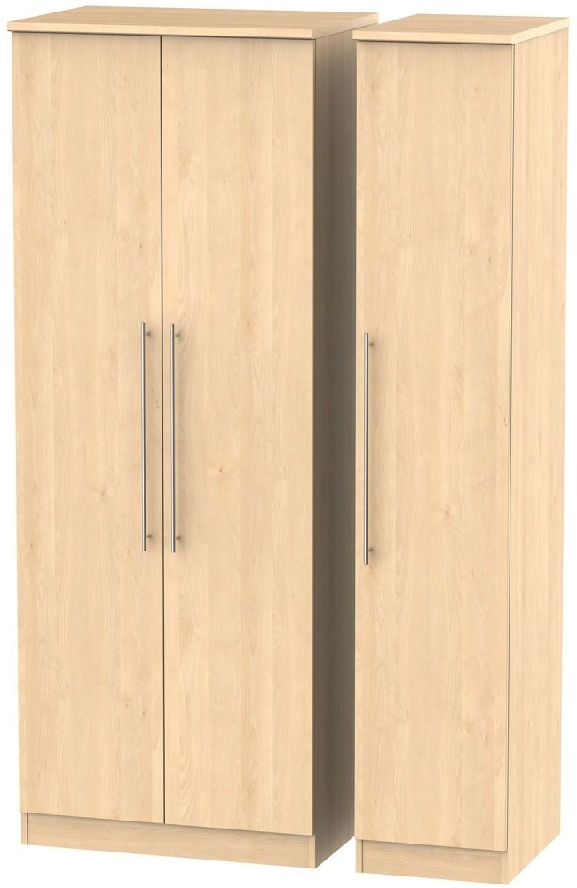 Sherwood Maple 3 Door Tall Plain Triple Wardrobe
