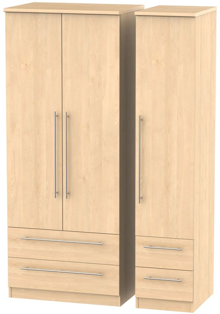 Sherwood Maple Triple Wardrobe with Drawer