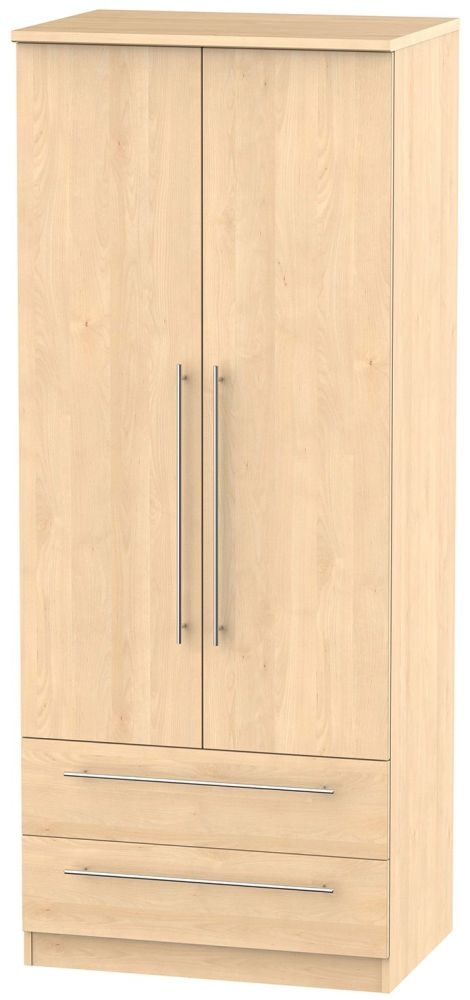 Sherwood Maple Wardrobe - 2ft 6in with 2 Drawer