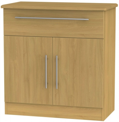 Sherwood Modern Oak 2 Door 1 Drawer Narrow Sideboard