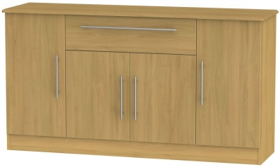Sherwood Modern Oak 4 Door 1 Drawer Wide Sideboard