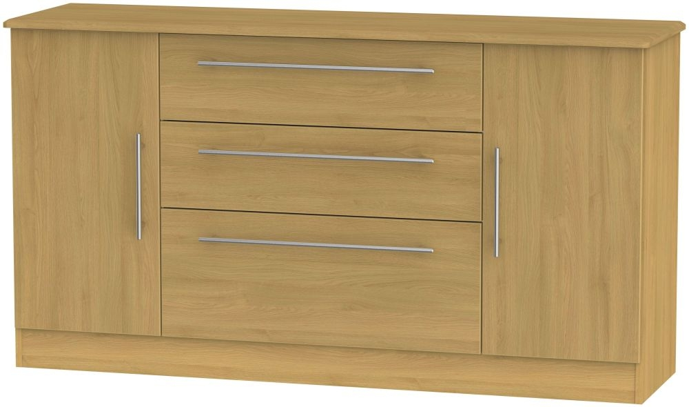 Sherwood Modern Oak 2 Door 3 Drawer Wide Sideboard