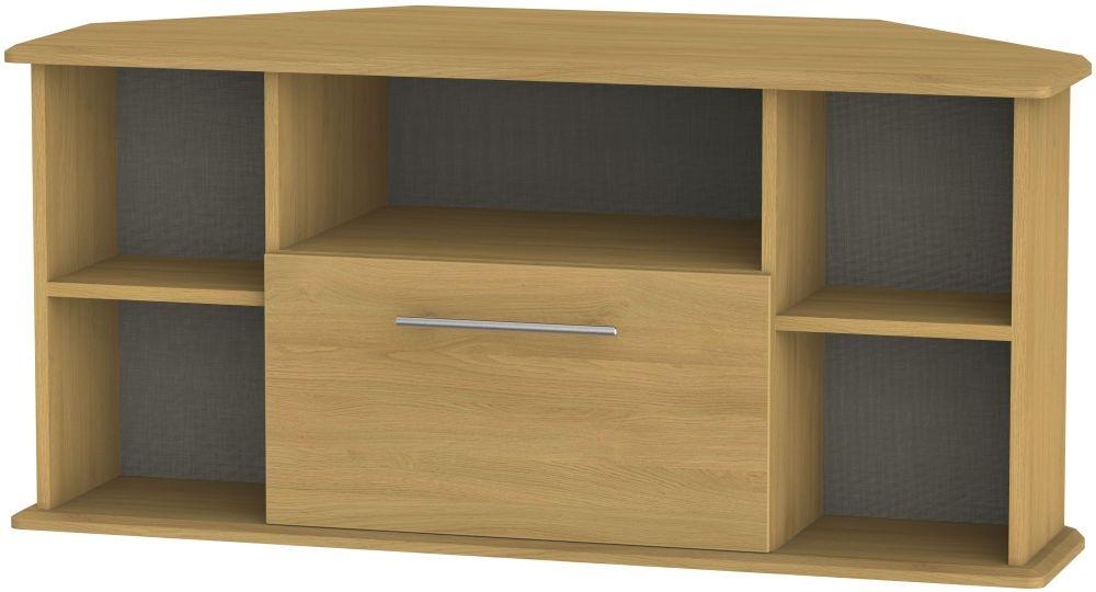 Sherwood Modern Oak 1 Drawer Corner TV Unit