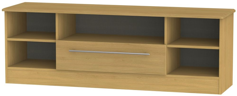 Sherwood Modern Oak 1 Drawer Wide Open TV Unit