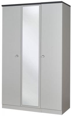 Sherwood Napoli with Grey Graphite Top 3 Door Mirror Triple Wardrobe
