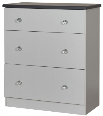 Sherwood Napoli with Grey Graphite Top 3 Drawer Deep Chest