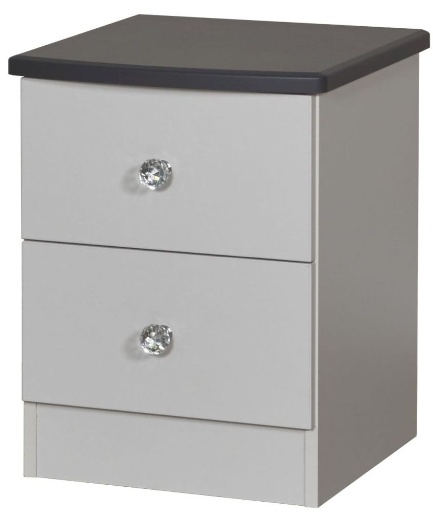 Sherwood Napoli with Grey Graphite Top 2 Drawer Locker Bedside Cabinet