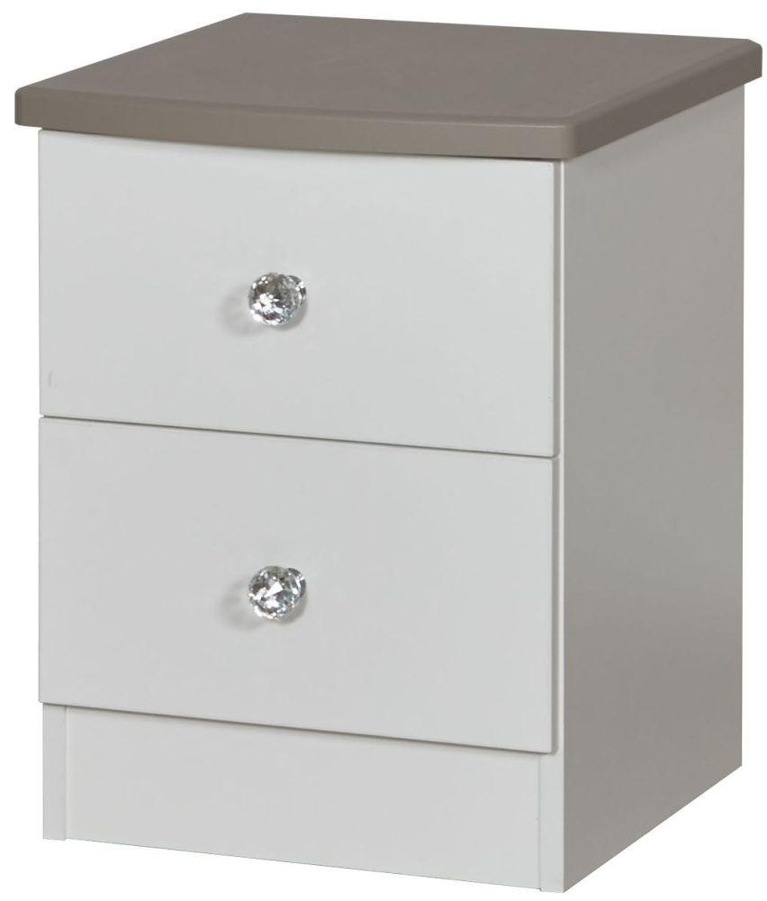 Sherwood Napoli with Mushroom Top 2 Drawer Locker Bedside Cabinet