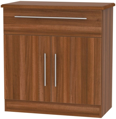 Sherwood Noche Walnut 2 Door 1 Drawer Narrow Sideboard