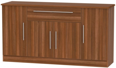 Sherwood Noche Walnut 4 Door 1 Drawer Wide Sideboard