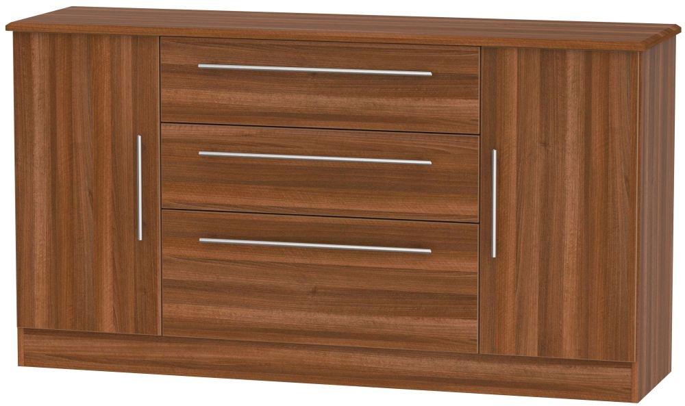 Sherwood Noche Walnut 2 Door 3 Drawer Wide Sideboard