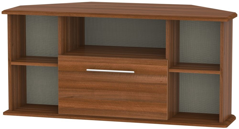 Sherwood Noche Walnut 1 Drawer Corner TV Unit