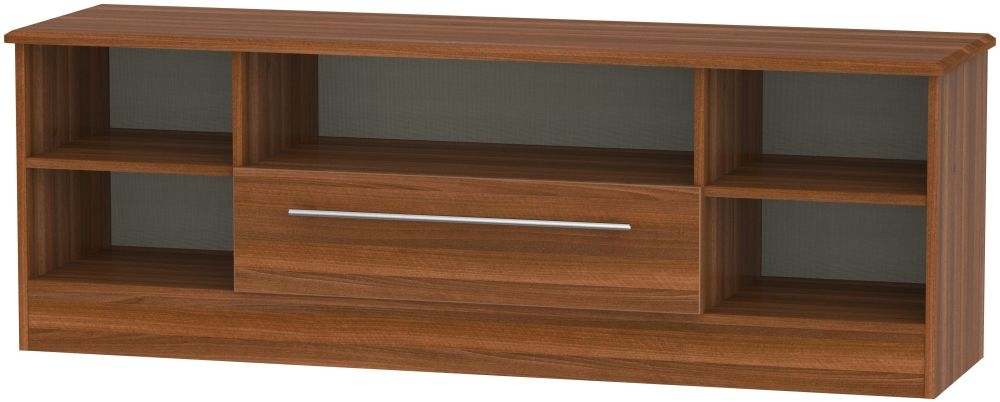 Sherwood Noche Walnut 1 Drawer Wide Open TV Unit