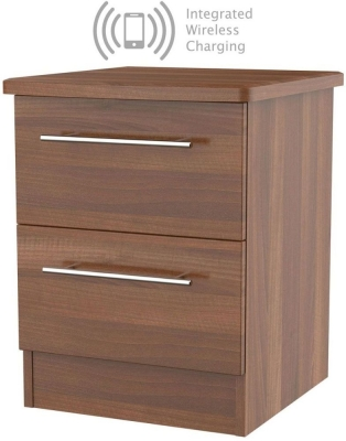 Sherwood Noche Walnut 2 Drawer Bedside Cabinet with Integrated Wireless Charging